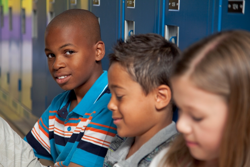 Students in front of lockers